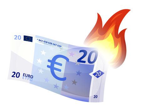 Illustration of a cartoon euro bill burning, symbolizing crash of european economy area, debt crisis and economic depression. Imaginary specimen with simplified graphics