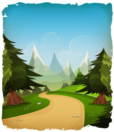 Illustration of a cartoon summer or spring mountains landscape, with pine trees, firs and high peak range and grunge frame