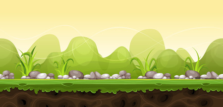 Illustration of a cartoon seamless green nature rural landscape for game ui scenics, with grass, stones and boulders, and cute curved hills over yellow sunrise