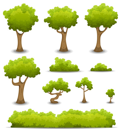 Illustration of a set of cartoon spring or summer forest trees and other green forest elements, bonsai, foliage, bush and hedges Illustration