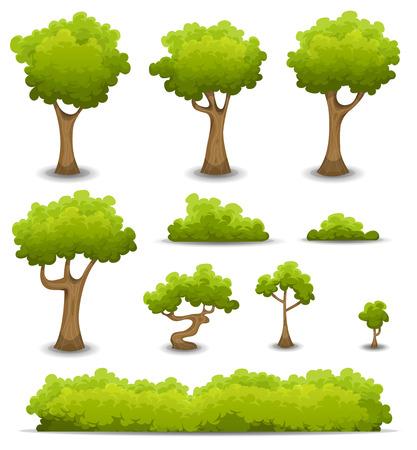 Ilustración de un conjunto de muelle de dibujos animados o de los árboles del bosque de verano y otros elementos del bosque verde, bonsai, follaje, arbustos y setos