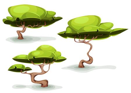 arboles de caricatura: Ilustración de un conjunto de árboles forestales raro dibujos animados divertidos y bonsai, por pintorescos de fantasía y pintorescos juego ui