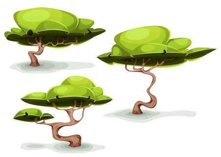 Illustration of a set of cartoon funny weird forest trees and bonsai, for fantasy scenics and game ui scenics Illustration