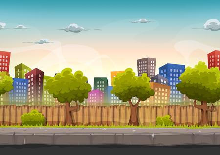 Illustrazione di un cartone animato senza soluzione di continuità paesaggio urbano della città con edifici e grattacieli di fantasia, per il gioco ui Vettoriali