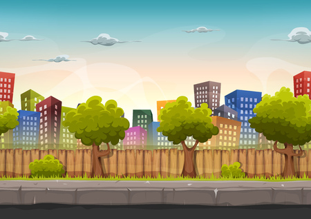 Illustration of a cartoon seamless urban city landscape with fancy buildings and skyscrapers, for game ui Vectores