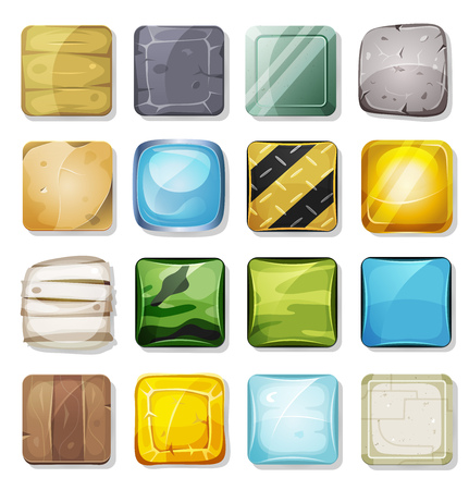 Illustration of a set of cartoon funny icons and buttons elements, in various material texture, wood, gold, plastic, metal, rock, stone, sand, glass and military camo, for mobile app and game ui on tablet pc Vectores