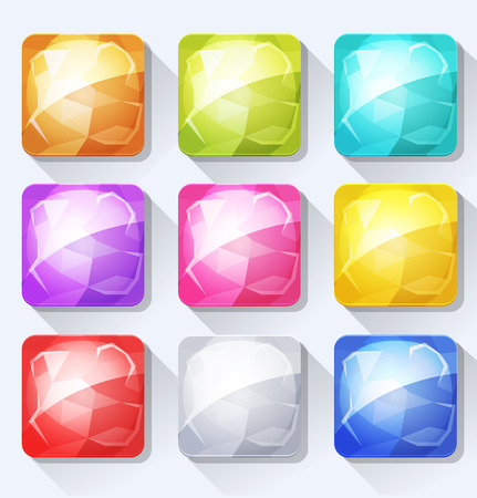 cartoon menu: Illustration of a set of cartoon gems and jewel icons and buttons elements, with colorful tints, for mobile app and game ui on tablet pc