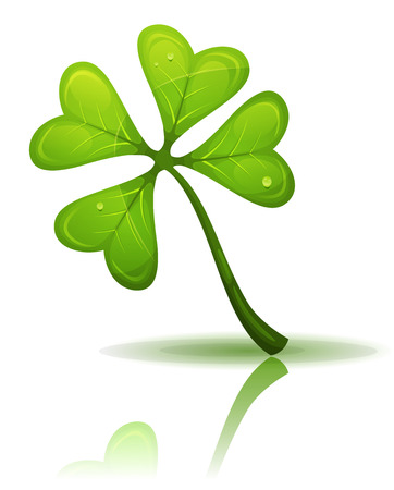 lucky charm: Illustration of a cartoon elegant four leaf clover, lucky charm symbol and irish mascot for st. patricks holidays Illustration