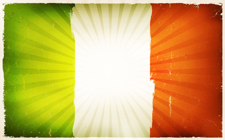 republic of ireland: Illustration of an horizontal ireland republic poster, green, white and orange, with retro and vintage design, grunge textures and sunbeams, for irish national holidays