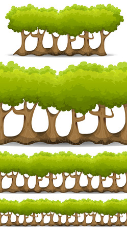 scenic's: Illustration of a set of seamless cartoon spring or summer forest trees, with repetitive patterns of foliage, branch and trunks, for wood, bush and hedges in game ui scenics