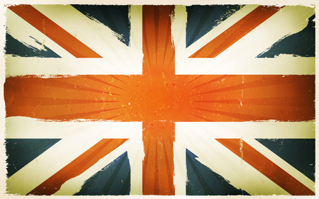 grunge union jack: Illustration of an horizontal english country poster, with blue, white and red cross for union jack, retro and vintage design, grunge textures and sunbeams, for british national holidays