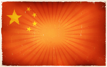 Illustration of an horizontal chinese country flag poster, red with yellow stars and vintage design, grunge textures and sunbeams, for china national holidays