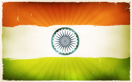 chakra: Illustration of an horizontal india country flag poster, red, white and green, with retro and vintage design, grunge textures and sunbeams, for indian national holidays