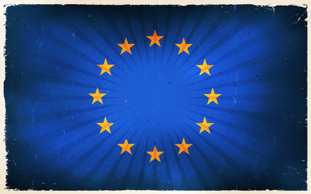 strasbourg: Illustration of an horizontal EU flag poster, with blue background and twelve stars circle, retro and vintage design, grunge textures and sunbeams