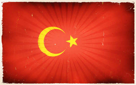 asiatic: Illustration of an horizontal turkey country flag poster, with red background, yellow star and crescent moon, vintage design, grunge textures and sunbeams, for turkish national holidays