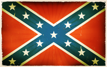 us grunge flag: Illustration of an american confederate flag poster, with blue cross and stars on red background, retro and vintage design, grunge textures for national holidays