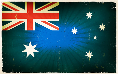 grunge union jack: Illustration of an horizontal australian country poster, with union jack, blue, white and red colors, retro and vintage design, grunge textures and sunbeams Illustration