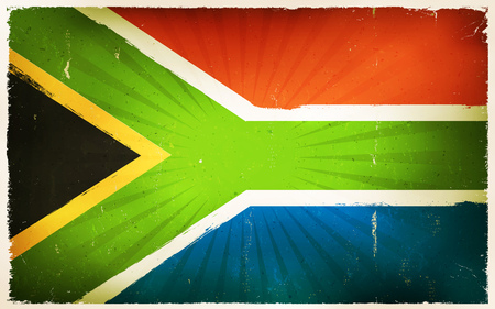 Illustration of the south african country flag poster, with vintage design, grunge textures and sunbeams, for rainbow nation holidays Illustration