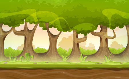 cartoon earth: Illustration of a seamless cartoon spring or summer landscape of forest trees, with repetitive patterns of foliage, branch and trunks, for game ui scenics Illustration