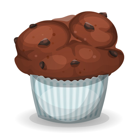 brown sugar: Illustration of a cartoon american muffin, with chocolate chips, for fast food sweets and desserts menu Illustration
