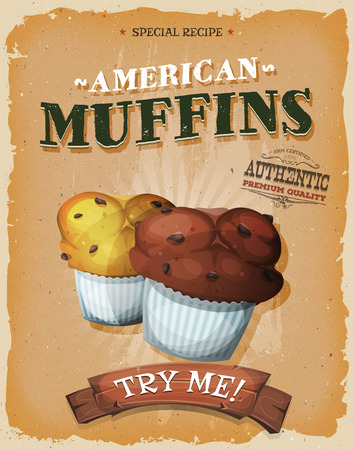 american vintage: Illustration of a design vintage and grunge textured poster, with cartoon american muffins with chocolate chips, for sweets and desserts meals in fast food and takeout menu