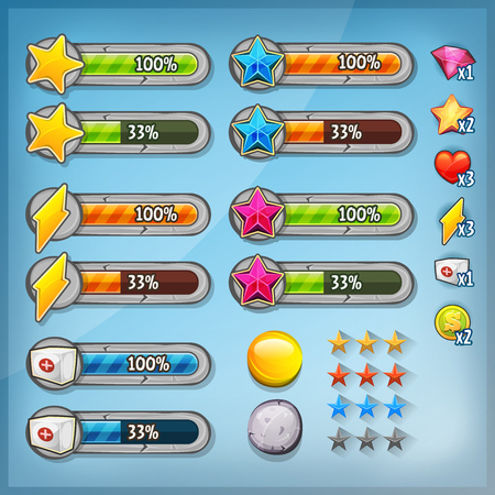 Illustration of a kit of cartoon icons, buttons, reources and status bars for game ui, on mobile apps and tablet pc