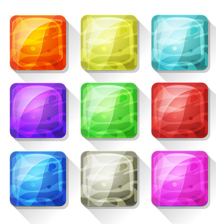 tints: Illustration of a set of cartoon fancy gems and marble icons and elements, with colorful tints, for mobile app and game ui on tablet pc