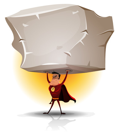 Illustration of a comic red hero raising an impressive big heavy rock with his awesome super power