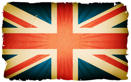 Illustration of english country poster, with union jack cross, retro and vintage design, grunge textures and sunbeams, for british national holidays