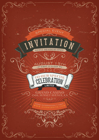 Illustration of a vintage invitation placard poster background for holidays and special events, with sketched , floral patterns, ribbons, text, design elements and grunge texture