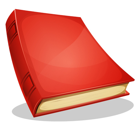 is closed: Illustration of a cartoon standing blank red covered album book isolated on white background Illustration