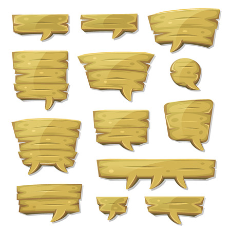 communication cartoon: Illustration of a set of various cartoon design wooden speech bubbles elements, for comics ads, communication and game ui messages Illustration