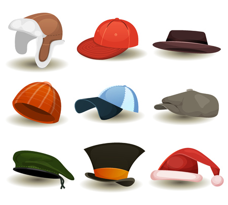 Illustration of a set of cartoon top or hats, baseball sport winter caps, military green beret, russian chapka and other headwear clothes equipment