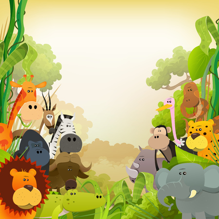 Illustration of cute various cartoon wild animals from african savannah, including lion, gorilla, elephant, giraffe, gazelle, gorilla monkey, ape and zebra with jungle background Vettoriali