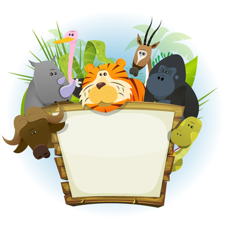 zoo cartoon: Illustration of a cute cartoon wild animals family from african savannah, with tiger, rhino, ostrich, gorilla monkey, snake, gazelle and buffalo on jungle background