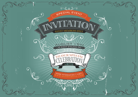 special events: Illustration of a vintage invitation placard poster background for holidays and special events, with sketched banners, floral patterns, ribbons, design elements and grunge texture
