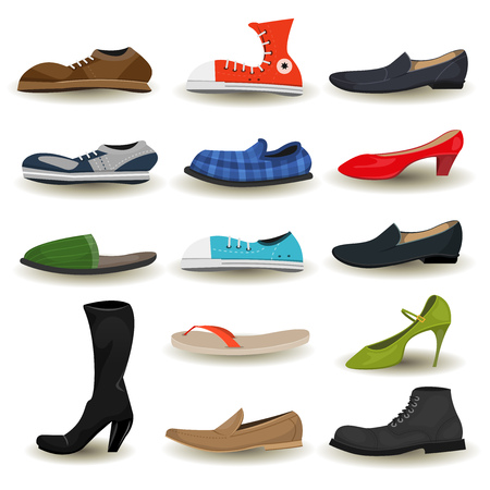 comfort: Illustration of a set of cartoon men and women shoes, boots, sandals, moccasin, sports sneakers and other footwear