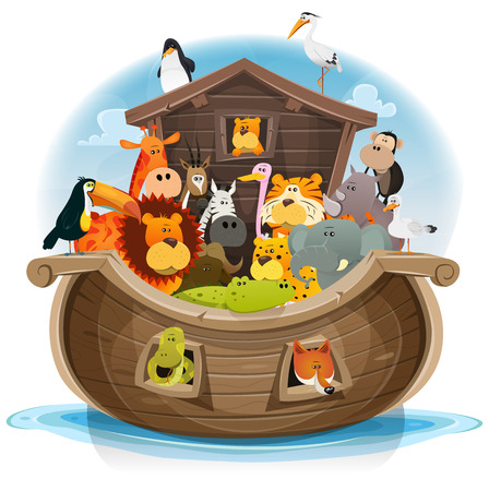 Illustration of cute cartoon group of wild animals inside noah's ark, with lion, elephant, giraffe, gazelle, gorilla monkey, ape, zebra, birds and others on ocean background