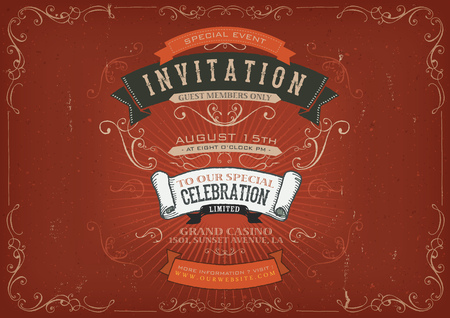 special events: Illustration of a vintage invitation placard poster background for holidays and special events, with sketched banners, floral patterns, ribbons, text, design elements and grunge texture