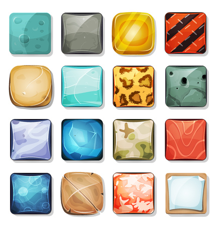 Illustration of a set of cartoon funny icons and buttons elements, in various texture, wood, gold, salmon, furs, rock, stone, sand, ice and military camo, for mobile app and game ui on tablet pc Vectores