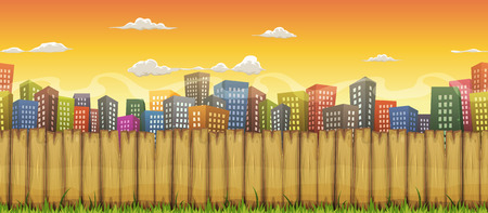 urban scenics: Illustration of a cartoon seamless urban city landscape with buildings and skyscrapers, behind wooden fence, for travel, business background or game ui scenics