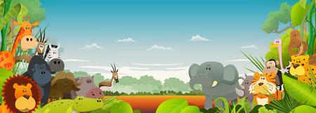 Illustratie van leuke verschillende cartoon wilde dieren van de Afrikaanse savanne, met leeuw, gorilla, olifanten, giraffen, gazellen, gorilla aap, hippo, aap en zebra met brede jungle achtergrond