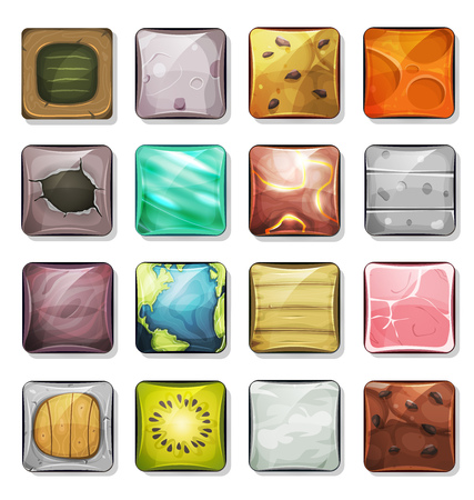 jamon: Ilustración de un conjunto de iconos de dibujos animados y botones de la tela, en varia textura, madera, piedra, jamón, kiwi, queso, tarta de chocolate, tierra, schoolboard, para la aplicación móvil y la interfaz de usuario de juego en el PC tableta