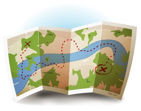 Ilustración de un icono de la tierra y el mapa del tesoro simbolizado impreso con los países, el río, las leyendas y la textura del grunge en la hoja de papel Ilustración de vector
