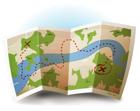 Illustration of a symbolized printed earth and treasure map icon with countries, river, legends, and grunge texture on paper sheet Vectores