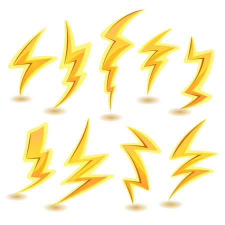 the tempest: Illustration of a set of funny cartoon lightning bolts icons, for thunderstorm and tempest in sky scenics, and game ui elements