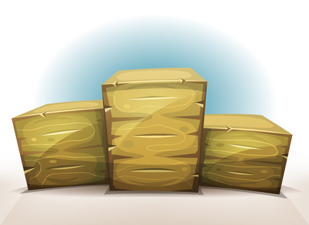 crates: Illustration of an award winner podium, made of wooden crates, for business success and wealth, and for game ui screens on tablet pc Illustration