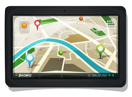 gps device: Illustration of a city map with gps icons on a tablet pc device screen, for localization app