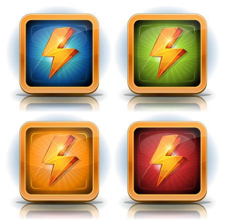 Illustration of a set of cartoon lightning bolts, inside shields, for energy weapons and resource icons on game ui
