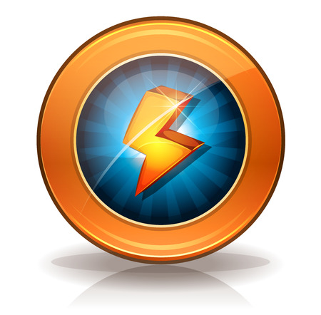 lightning arrow: Illustration of a rounded lightning bolts badge icon or button, for energy weapons and resource on game ui